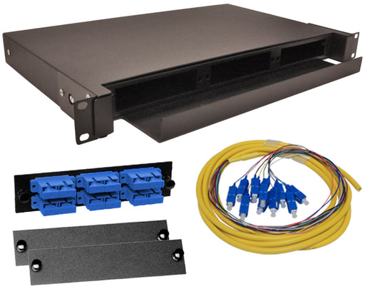12-Strand Pre-Loaded OS2 Single Mode SC Slide-Out 1U Fiber Patch Panel with Jacketed Pigtail Bundle