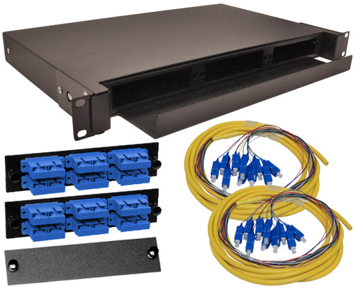 24-Strand Pre-Loaded OS2 Single Mode SC Slide-Out 1U Fiber Patch Panel with Jacketed Pigtail Bundle