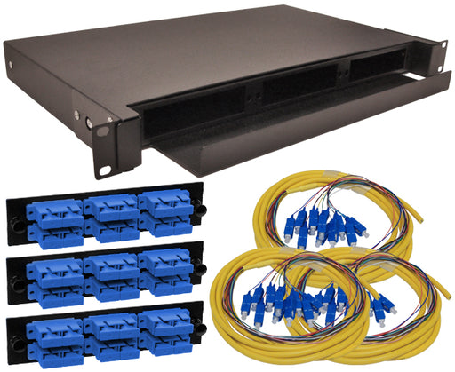 36-Strand Pre-Loaded OS2 Single Mode SC Slide-Out 1U Fiber Patch Panel with Jacketed Pigtail Bundle