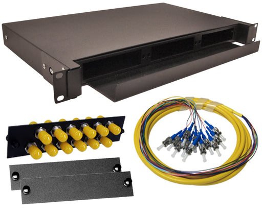 12-Strand Pre-Loaded OS2 Single Mode ST Slide-Out 1U Fiber Patch Panel with Jacketed Pigtail Bundle