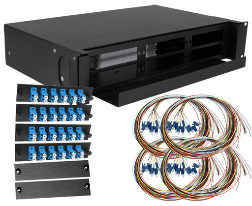 48-Strand Pre-Loaded OS2 Single Mode LC Slide-Out 2U Fiber Patch Panel with Unjacketed Pigtails Bundle