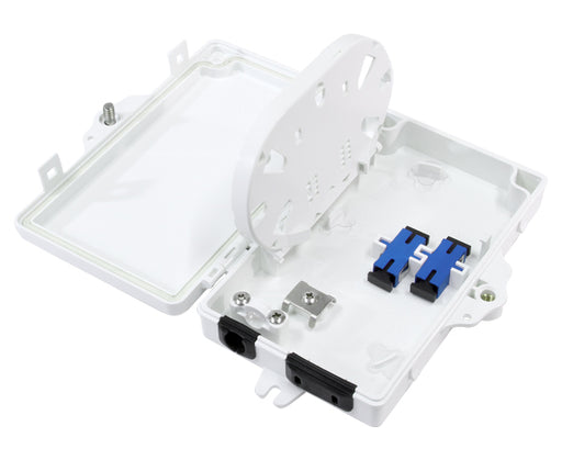 Fiber Distribution Unit, Wall Mount, Plastic, Fits 2 SC Adapters, 2 Splices, Outdoor, IP-66 Rated White