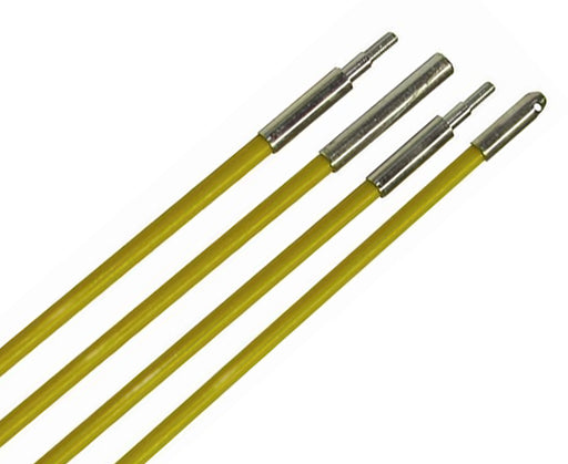 "Fiberfish Rod Kit, Wire Installation Rods, 12' long x 1/4"" Diameter, Yellow"