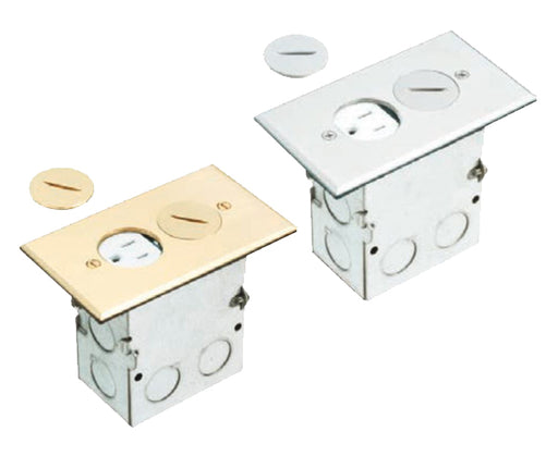 Brass or Nickel Plated Single Gang (1-Gang) Power Outlet Floor Box Kit with Steel Box and Metal Cover with Threaded Plugs