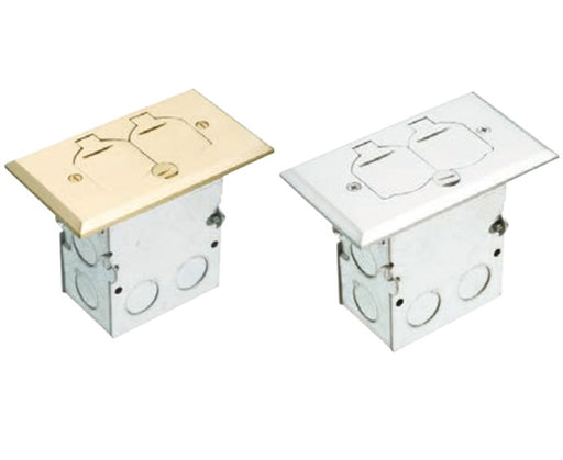 Brass or Nickel Plated Single Gang (1-Gang) Power Outlet Floor Box Kit with Steel Box and Metal Cover