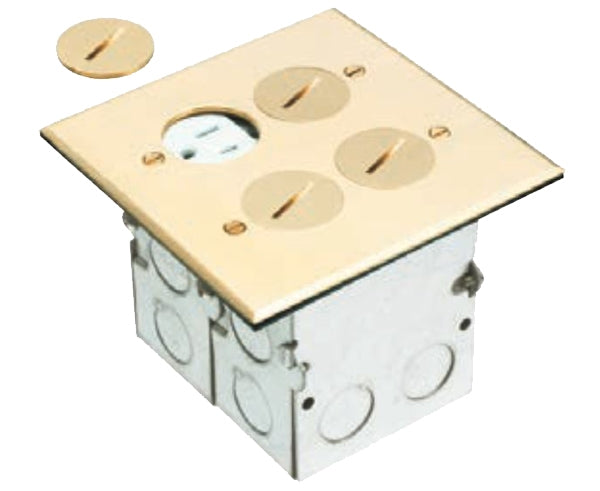 Dual Gang Power Outlet Floor Box Kit with Steel Box and Metal Cover with Threaded Plugs