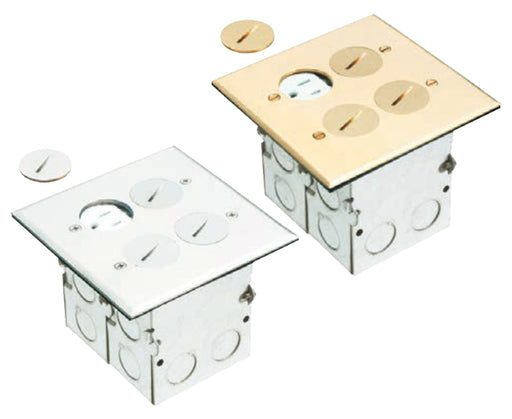 Brass or Nickel Plated Dual Gang (2-Gang) Power Outlet Floor Box Kit with Steel Box and Metal Cover with Threaded Plugs