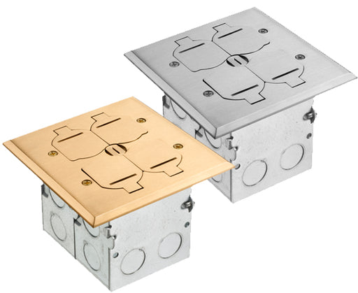 2-Gang Floor Box Kit with Steel Box and Metal Cover
