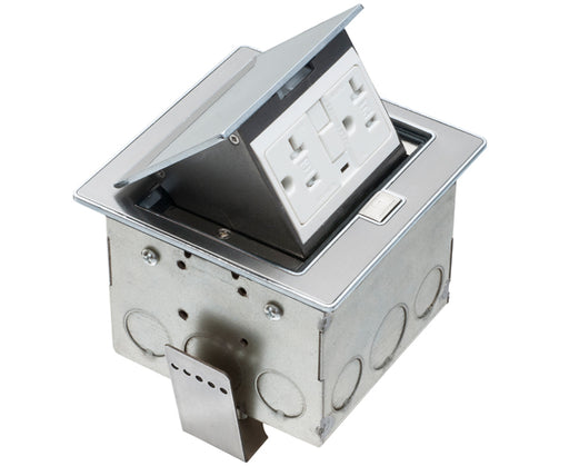 Power Outlet Countertop Box Kits with Stainless Steel Color Trapdoor Covers 20A Duplex TR GFCI Receptacles
