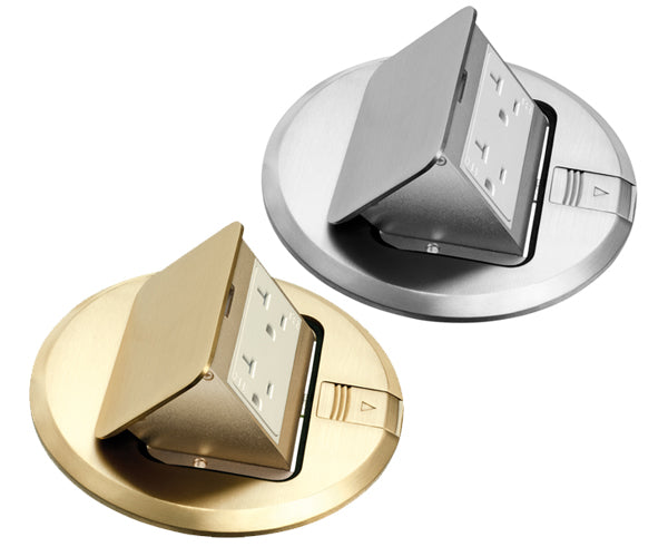 Floor Power Outlet Round Trapdoor Cover, Brass or Nickel-plated. Pre-mounted gasket & decorator-style 15A receptacle