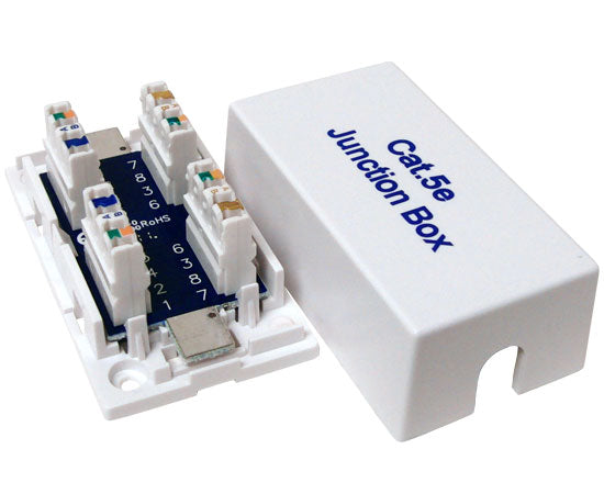 CAT5E Junction Box, 110 Punch Down Style - White