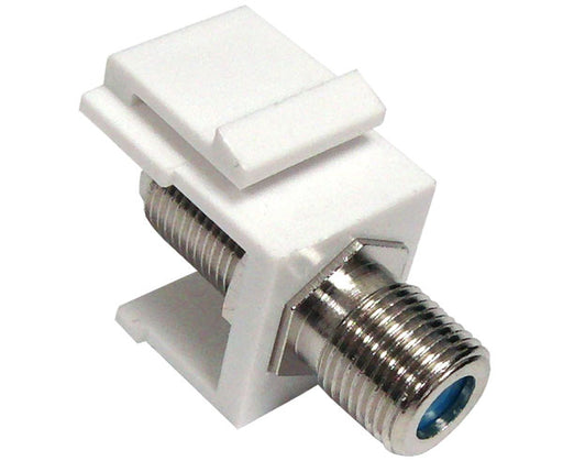 F-81 Coax Keystone Jack, 3GHz, F-Type Female to Female Coupler, White, Ivory and Black  Snap-In Module
