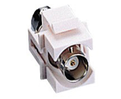 Keystone Jack-BNC connector, Snap-In Modular, Female to Female. Supplied in White
