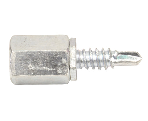 "Threaded Rod Male Coupler, 3/8-16 w/ 3/4"" Self-Tapping Sheet Metal Screw"