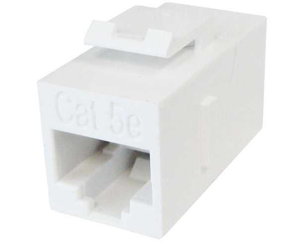 CAT5E RJ45 Inline Coupler, Unshielded, Snap-In w/Keystone Latch