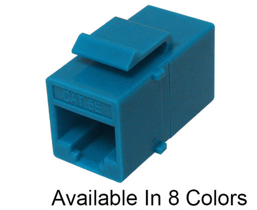 CAT5E Inline Coupler, Unshielded, Snap-In w/Keystone Latch