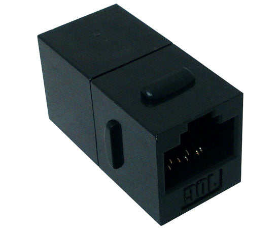 CAT6A RJ45 Inline Coupler, Unshielded, Slim Snap-In w/Keystone Latch, Black