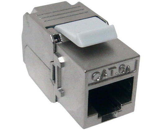 CAT 6A 10G Data Grade Keystone Jacks, 180 Degree, RJ45, 8x8, Tooless/110, Component Rated, Diecast Shielded, (MIG+)