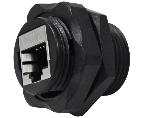 CAT6 Shielded Industrial Bulkhead Coupler, Water Sealed, Outdoor RJ45