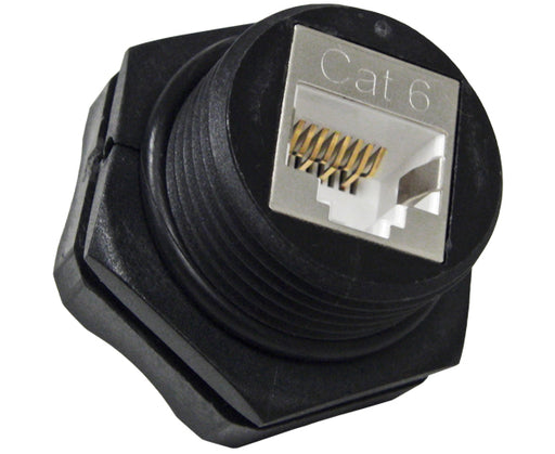 Industrial Outdoor Bulkhead CAT6 RJ45 Keystone Jack with Watertight Seal - Front/Back