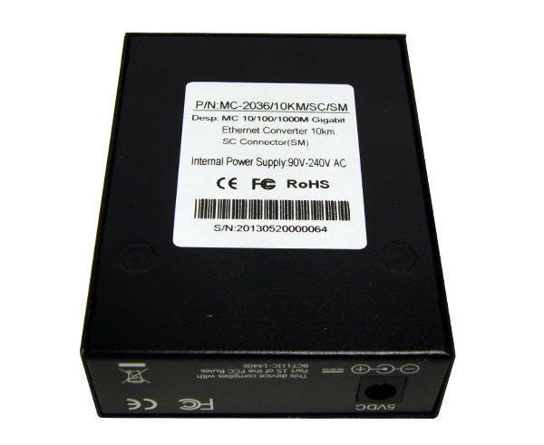 Media Converter, Single-Mode, Gigabit Ethernet, 10km, RJ45-Duplex SC