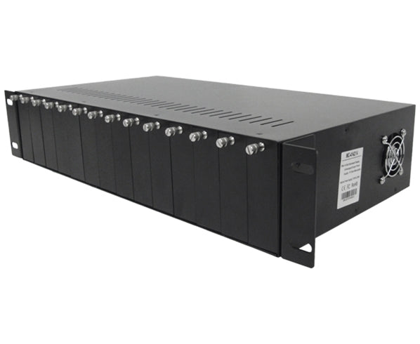 Media Converter Rackmount Chassis with Power Supply, 14 Slots