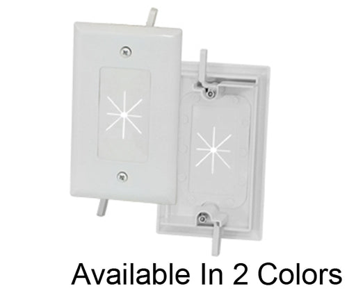 1-Gang Feed-Through Wall Plate with Flexible Opening - White