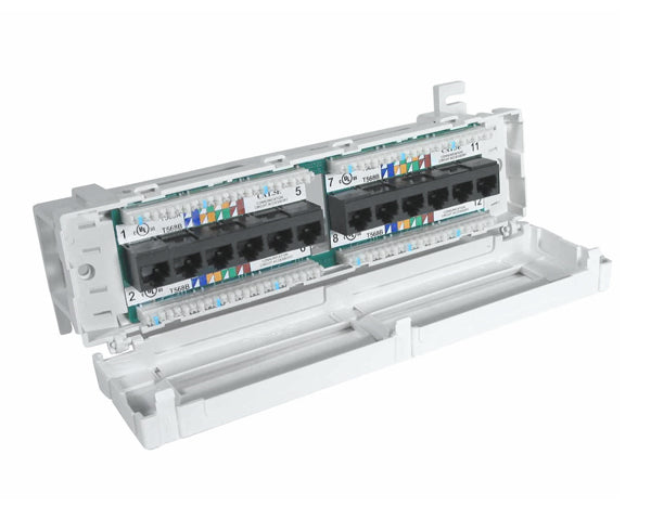 Front-Terminating CAT 5E Patch Box, 12-Port interior view