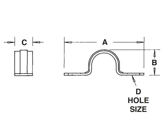 2-Hole Plated Steel Rigid Straps Snap-on Type Diagram