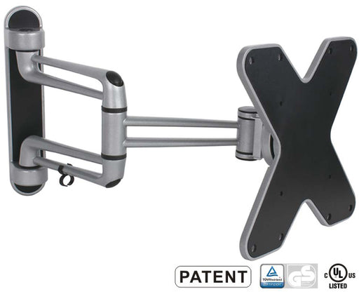 "LED, LCD & Plasma Flat TV Wall Mount 23"" to 42"" Tilt and Swivel, 16.4"" Arm, Silver"