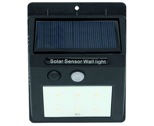 Solar Motion Sensor Detector LED Flood Light with 120Lm for easy Wall Mount. Built-in Sensor Eye Detects Motion & Turns the light On