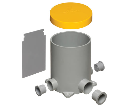 "4.5"" Non-Metallic Round Box with Plugs, Low Voltage Divider and Mud Cover"