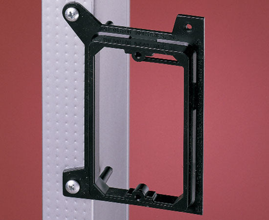 Single Gang New Construction Low Voltage Mounting Brackets, Black- On Wall