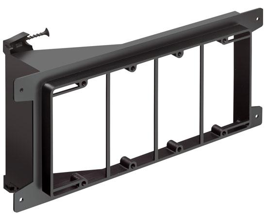 Screw-on Low Voltage Mounting Brackets, Black with Screws- 4 Gang