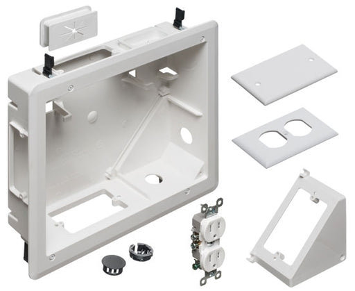 "8"" x 10"" TV BOX™ Kit Non-metallic Recessed Power & Low Voltage Electrical Box ™ White"