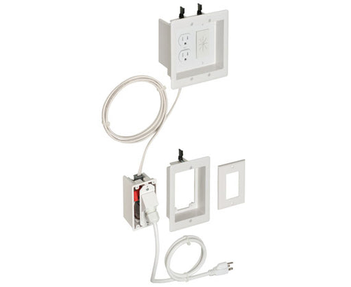 Single Gang to 2-Gang TV BRIDGE™ II Kits for Flat Screen TVs - White