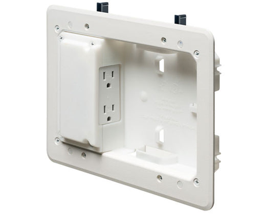 "5"" x 8"" Low Profile Plastic TV Box™ for Shallow Wall Depths ™ White"
