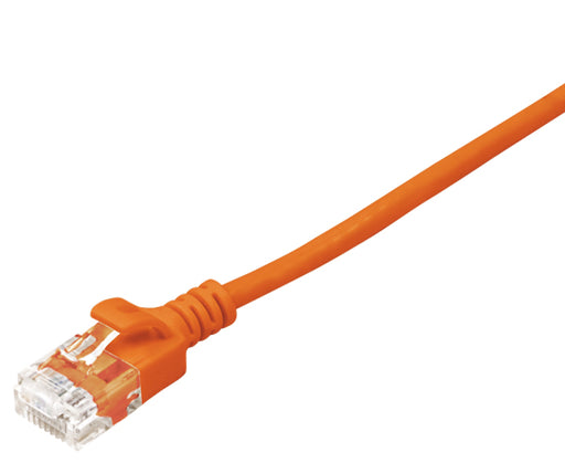 CAT6A Ethernet Patch Cable, Slim, Snagless Molded Boot, UTP, 10G, 28AWG, RJ45 - RJ45, 10ft Orange