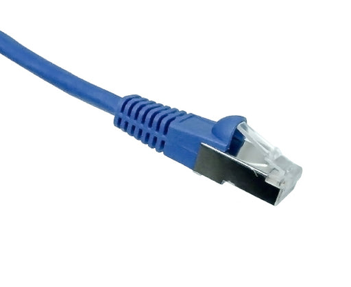 CAT 7 Individually Shielded S/FTP Ethernet Patch Cable, 10G, Molded Snagless Boot, Blue 1 of 2