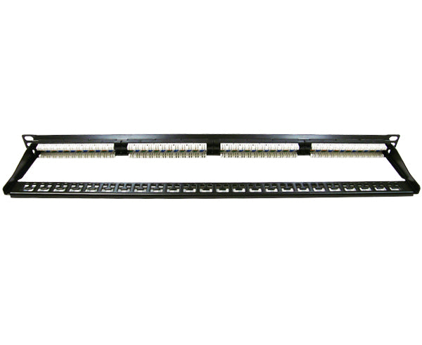 CAT5E High Density 24 Patch Panel, Half-U 180° IDC's frame front view