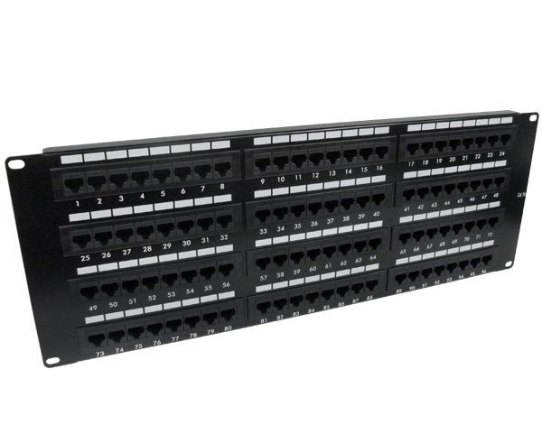 CAT 5E Patch Panel, 96 Port, Flush Mounted Jacks - Left View