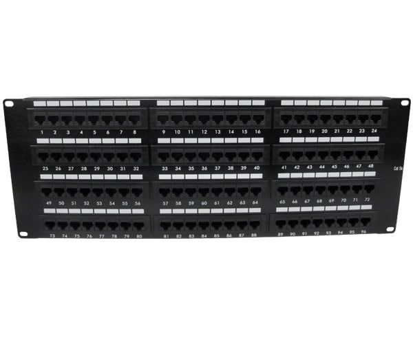CAT 5E Patch Panel, 96 Port, Flush Mounted Jacks - Front View