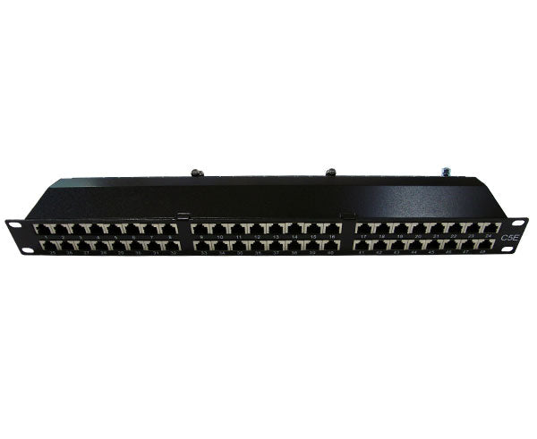 CAT5E High Density 48 Shielded Patch Panel, 1U front view