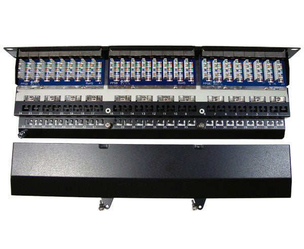 CAT5E High Density 48 Shielded Patch Panel, 1U 3 view