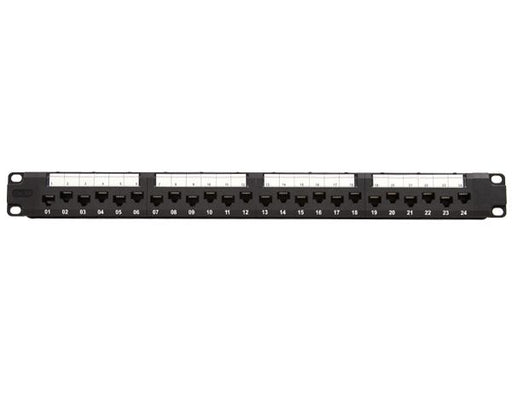 CAT6A Unshielded 24-Port Patch Panel, staggered port design, 110 Punchdown Connections, Support Wire Management Bar, Black