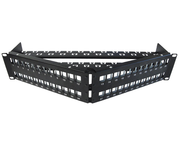 Blank Shielded Patch Panel, 24 & 48 Port Angled, 1U & 2U, High Density, w/Cable Mgmt Bar 3 of 8