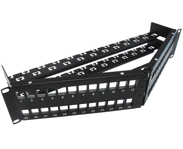 Blank Shielded Patch Panel, 24 & 48 Port Angled, 1U & 2U, High Density, w/Cable Mgmt Bar 4 of 8