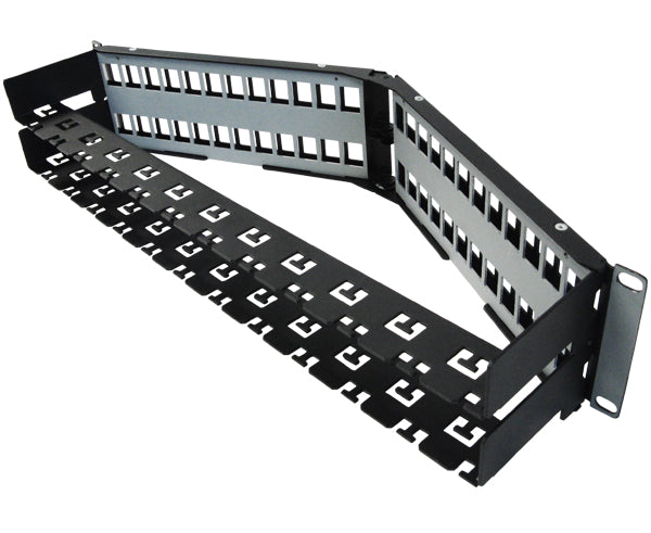 Blank Shielded Patch Panel, 24 & 48 Port Angled, 1U & 2U, High Density, w/Cable Mgmt Bar 5 of 8