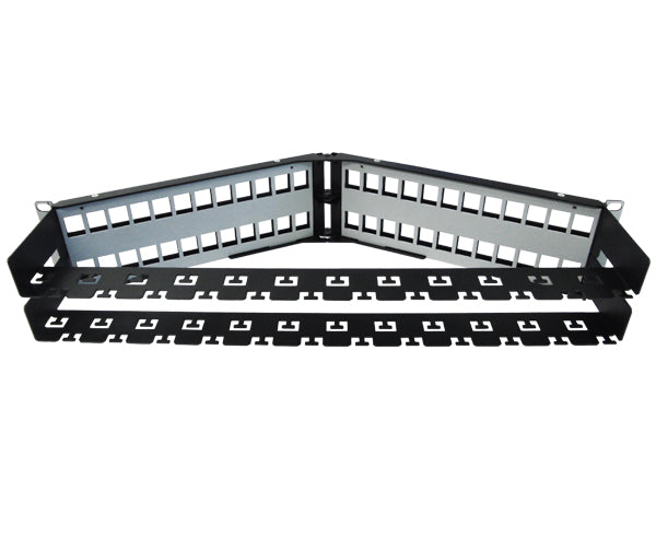 Blank Shielded Patch Panel, 24 & 48 Port Angled, 1U & 2U, High Density, w/Cable Mgmt Bar 6 of 8