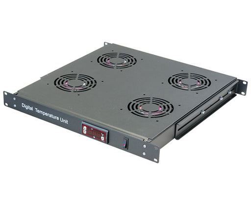 Network Rack, Four 120mm AC Fans with Thermostat, 1U